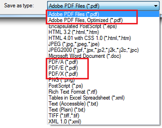 Types of PDF Standards