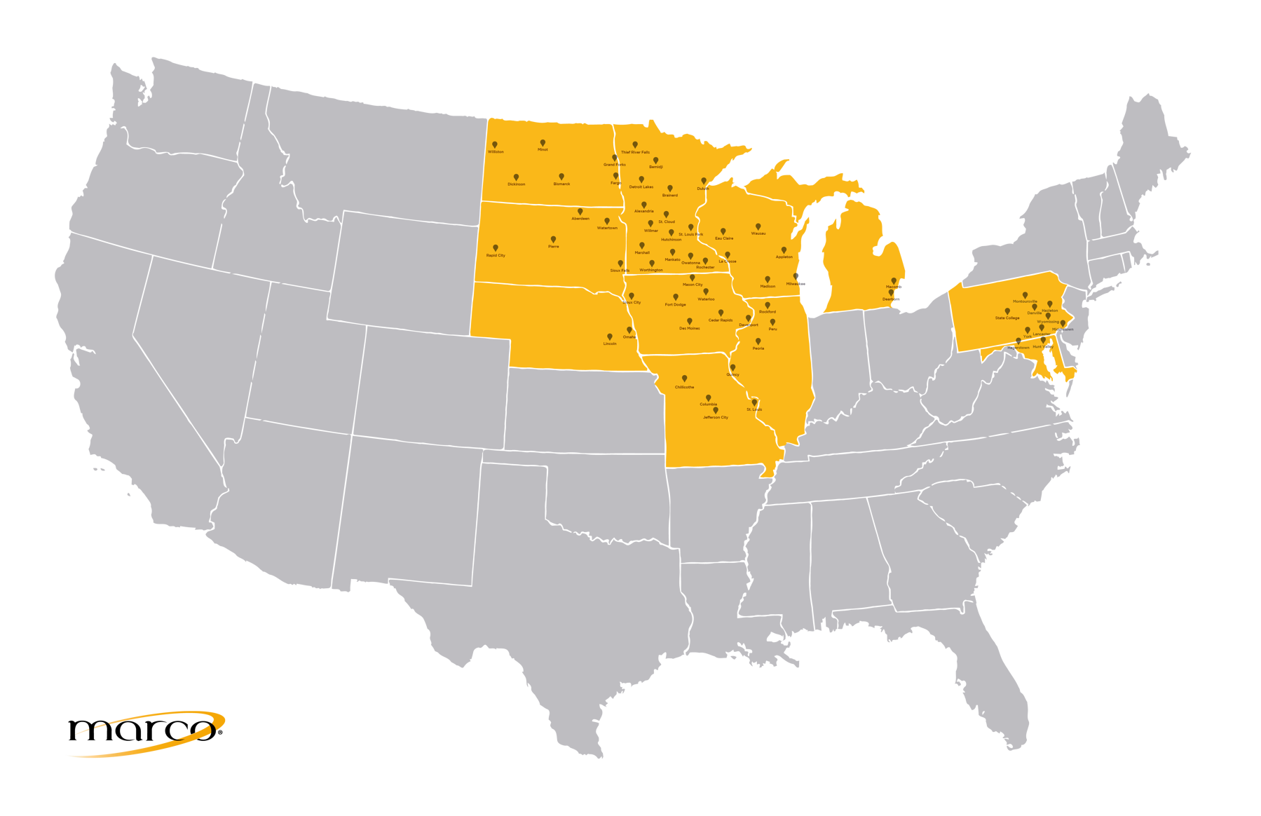 Marco Locations Map