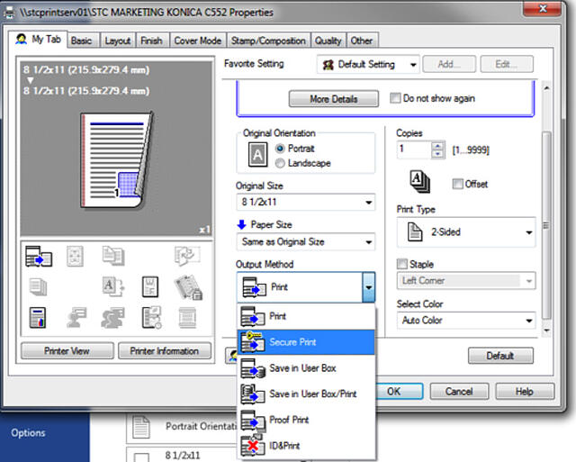 Image depicting the print pop-up window on a PC, with Secure Print selected.