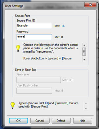 Image of a User Settings pop-up window asking for the user's Secure Print ID and password.