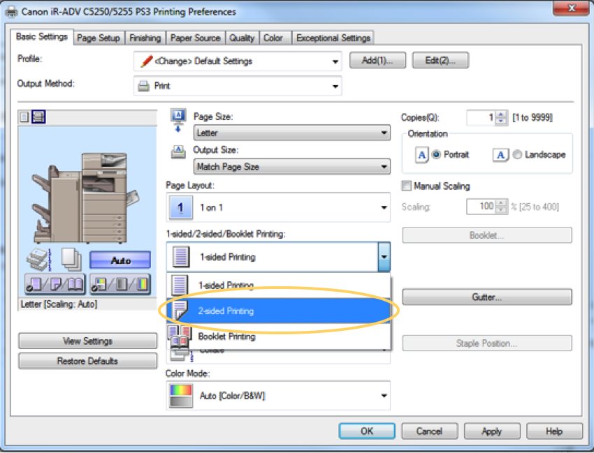 How-to Set Up 2-Sided Printing and B&W Defaults on Your