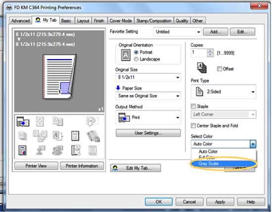 2-sided printer setup screenshot