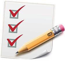 Image description: Cartoon rendering of a checklist with three red check marks and a sharpened yellow pencil.
