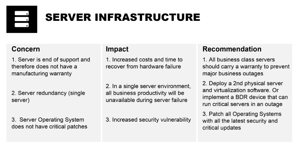 Image depicting Marco IT Audit deliverable for one of the focus areas: server infrastructure